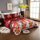 Conjunto de ropa de cama de Navidad Santa Poliéster 3D Impreso Funda nórdica + 2pcs Fundas de almohada + Juego de sábanas Decoraciones de la habitación de Navidad