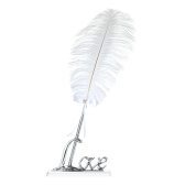 "Retro Style White Feather Signing Pen with ""Love"" Holder Wedding Pen Set Decoration Supplies--Silver"