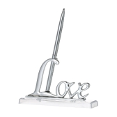 "Wedding Signing Pen with ""Love"" Holder Wedding Signature Pen Set Decoration Supplies for Guest Book--Silver"