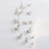 12 unids / set 3D Mariposa Pegatinas de Pared Pegatinas Murales Extraíbles DIY Art Wall Decals Decoración con Pegamento para el Dormitorio Wedding Party - Oro