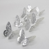 12 sztuk / zestaw 3D Motyl Naklejki Ścienne Hollow Naklejki Ścienne Wymienny DIY Naklejki Ścienne DIY Wystrój z Klejem do Sypialni Wesele - Złota