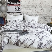Soft Polyester Brushed Microfiber Duvet Set with Zipper Closure Marble Printed Pattern Duvet Cover + 2pcs Pillowcases--Single Size