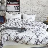 Weiches Polyester gebürstetem Mikrofaser-Bettdecke Set mit Reißverschluss Marmor bedruckt Muster Bettbezug + 2 Stück Kissenbezüge - Single Size