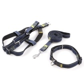 3pcs / Set Denim Heavy Duty Pet Dog Collar Leash