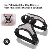 Arnés para perro No tirar Rhinestone ajustable Diamante Bowknot Correas del pecho Arco Chaleco con correa Nylon reflectante Chaleco para mascotas para perros
