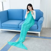 "Mode Belle maille Mermaid Tail Blanket Crochet Sac de couchage 70,9 ""× 35,4"" Sofa Living Room for All Seasons Adult"