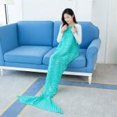 """Mode Schöne Strick Mermaid Schwanz Decke Crochet Schlafsack 70,9 """"× 35,4"""" Sofa Wohnzimmer für alle Jahreszeiten Erwachsene"""