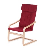iKayaa Contemporary Wooden Reclining Bentwood Chair Solid Birch Wood Lounge Chair With Cushion Comfortable Armchair