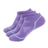 3 pares de mujeres transpirable de algodón de corte bajo no Show calcetines barco corriendo ciclismo deportivo tobillo calcetines para EE.UU. 5.5-7.5 / UK 4.5-6.5 / Europea 36-39 - Purple