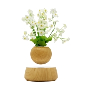 Levitación magnética Floating Plant Pot Levitating Giratorio Suspensión Flor Air Bonsai Pot Maceta con Base de Madera para Home Office Decoration enchufe de la UE