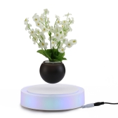 Levitation Rotating Magnetic Floating Suspension Flower Air Bonsai Pot Levitating LED Floating Bonsai Pot EU Plug for Home Office Decoration