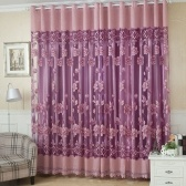 "2Pcs 100*250cm Elegant Luxury High-end Floral Pattern Window Curtains with Beads Door Voile Curtain Window Drape Divider Room Wall Setting Wall Decoration Classy Window Treatments Size 39""*98"""