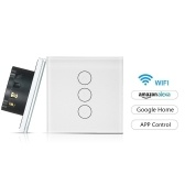 Smart Touch Glass Light Switch Wireless Wifi APP Remote Control Dimmer Switch No Hub Required Work with Amazon Alexa Google Home Echo Voice Control--EU