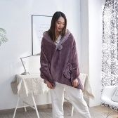 Blanket Polyester Fibre Home Thick Wearable Blankets with Pockets Fleece Flannel