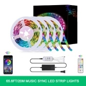65.6FT / 20M LED RGB Light Strip 5050 SMD Controlador BT de cambio de color con control remoto de 24 teclas
