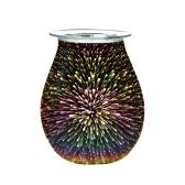 Calentador de aceite eléctrico Efecto 3D Fuegos artificiales Quemador de cera de vidrio Hogar Oficina Incienso Calentador de aceite Luz nocturna Lámpara decorativa de aroma