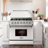 "THOR KITCHEN HRD3606U 36inch Dual Fuel Range 36"" 6 Burner 5.2 Cu. Ft Free Standing Stainless Steel Gas Range Electric Oven"