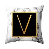 Funda de almohada de mármol con letras doradas Funda de cojín de almohada de sofá 45 * 45 cm
