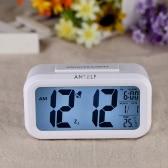 Anself LED Digital Wecker Repeating Snooze lichtaktivierbar Sensor Beleucht.Zeit Datum Temperatur Weiß-Anzeige