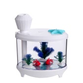 Novel Fish Tank LED Night Light Household Ultrasonic Air Humidifier Aquarium Small Cylinder Air Purifier Misting Maker Lamp High Capacity Sprayer USB Mini Fresh Filter