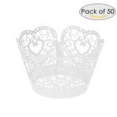 50 unids / set envolturas de papel de la magdalena Laser Cut Lace Cake Cup Liners Bandejas decoraciones para hornear Suministros - Blanco