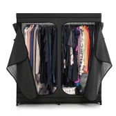 iKayaa Classic Double Zipped Up Fabric Closet Large Clothes Organizer