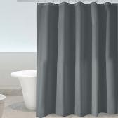 Htovila 72 * 72 '' Полиэстер Водонепроницаемый мягкий занавес для душа Декоративная защита конфиденциальности Занавеска для ванной комнаты с крючками 12шт - Серый