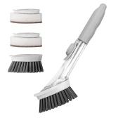 Soap Dispensing Dish Brush and Sponge Household Cleaning Brushes(1 Handle + 2 Brush Heads + 2 Sponge Heads)