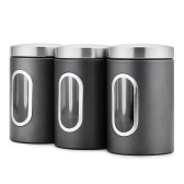 3 Set Storage Jars with Lid 1.5L Biscuit Jars Food Storage Container Stainless Steel for Tea Cereals Dried Fruits