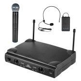 UHF Dual Channels Wireless Microphone Mic System with 1 Bodypack Transmitter 1 Headset and 1 Handheld Microphones Receiver 6.35mm Audio Cable