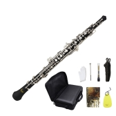 Professional Oboe C Key Cupronickel Plated Silver Woodwind Musical Instrument for Beginner with Reed Gloves Cleaning Cloth Lubricant Screwdriver Leather Case Bag Strap