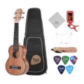 "TOM TUS-200 21"" Professional Acoustic Soprano Ukulele Ukelele Uke Kit Mahogany Wood with Carrying Bag Strap Strings Clip-on Tuner Cleaning Cloth Celluloid Picks"