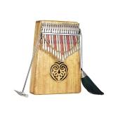 ammoon Kalimba Mbira Pulgar Piano Sanza 17 teclas Piano de madera macizo Piano con bolsa de transporte Libro de música Pegatinas de escala musical Martillo de afinación Regalo musical Fácil de aprender AKP-17L