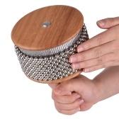 木製カバサパーカッション楽器金属ビーズ付きチェーン&シリンダーポップハンドシェーカークラスルーム用ミディアムサイズ