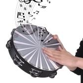 Tamburo a mano in legno tamburello radiante con doppia fila Jingles riflettente tamburo a percussione Strumento musicale giocattolo