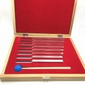 8ピースアルミ合金シルバー音叉セットチャクラハンマーボール診断ツール用健全な治療法で木箱楽器