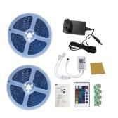 Kit de bandes LED 5050 bandes LED flexibles RVB 5m bandes lumineuses multicolores changeantes avec contrôleur de musique WiFi télécommande IR