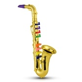 Saxophone Kids Musical Wind Instruments ABS Metallic Gold Saxophone with 8 Colored Keys
