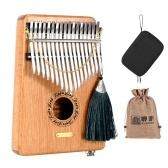 LINGTING K17GEQ Piano portátil de 17 teclas com dedilhado Kalimba Mbira G Tonalidade Sândalo