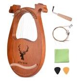 Ammoon Instrument à cordes en bois massif pour harpe lyre à 16 cordes