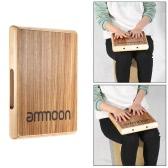 ammoon Compacto Cajón de Viajes Palma de la Mano Instrumentos de Percusión Tambor Madera de Cebra 31,5 * 24,5 * 4,5 cm
