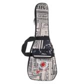 """21"""" Ukelele Bag Case Paper Pattern Oxford Backpack Adjustable Shoulder Strap Pocket 6mm Thicken Padded"""