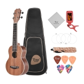 "TOM TUS-200B 21 ""Acoustic Soprano Ukulele Ukelele Uke Kit Sapele Wood с переносной сумкой Strap Strings Clip-on Tuning Cleaning Cloth Celluloid Picks"