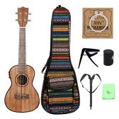 """24"""" Ukulele Ukelele Uke Kit Sapele Wood with LCD EQ Including Carrying Bag Capo Strings Strap Finger Maraca Cleaning Cloth"""