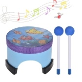 6 Inch Cartoon Wooden Floor Drum Percussion Instrument Musical Toy for Kids Children