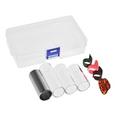 Guitar Slides Set Includes 3 Glass Slides (5.1cm/ 6cm/ 7cm) + 1 Stainless Steel Slide (6cm) + 4pcs Celluloid Thumb & Finger Picks(Random Color Delivery) with Plastic Storage Box