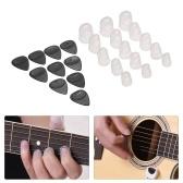 Zestaw akcesoriów do gitary zawiera 15szt silikonowych osłon palców na palec + 10 sztuk gitarowych dla początkujących gitarzystów akustycznych