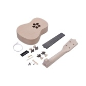 21 Inches Unfinished DIY Ukulele Ukelele Uke Kit Basswood Body & Neck Plastic Fingerboard & Bridge Nylon String for Ukulele Lovers