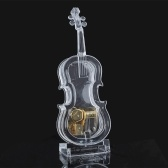 Mechanical Wind-up Violin Shape Music Box Without light