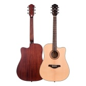 41inch Cutaway Acoustic Folk Guitar Spruce Wood Top Panel Mahogany Wood Backside Panel